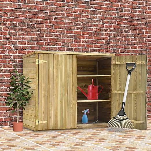 Tidyard Caseta Herramientas jardín Madera Pino impregnada 135x60x123 cm con 3 estantes de Apoyo: Amazon.es: Hogar