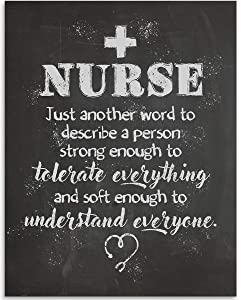Nurse - Just Another Word To Describe - 11x14 Unframed Art Print - Great Gift For Nurse's Day, Home and Office Decor Under $15
