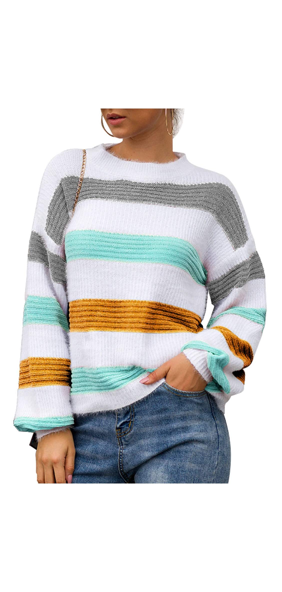 Women's Color Block Striped Crew Neck Long Sleeve Casual