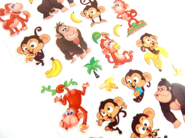 fabrication de carte ou carnet d/écoration ENFANTS /étiquettes pour sac de soir/ée SINGE /& Banane AUTOCOLLANTS ENFANTS album de cr/éacollage
