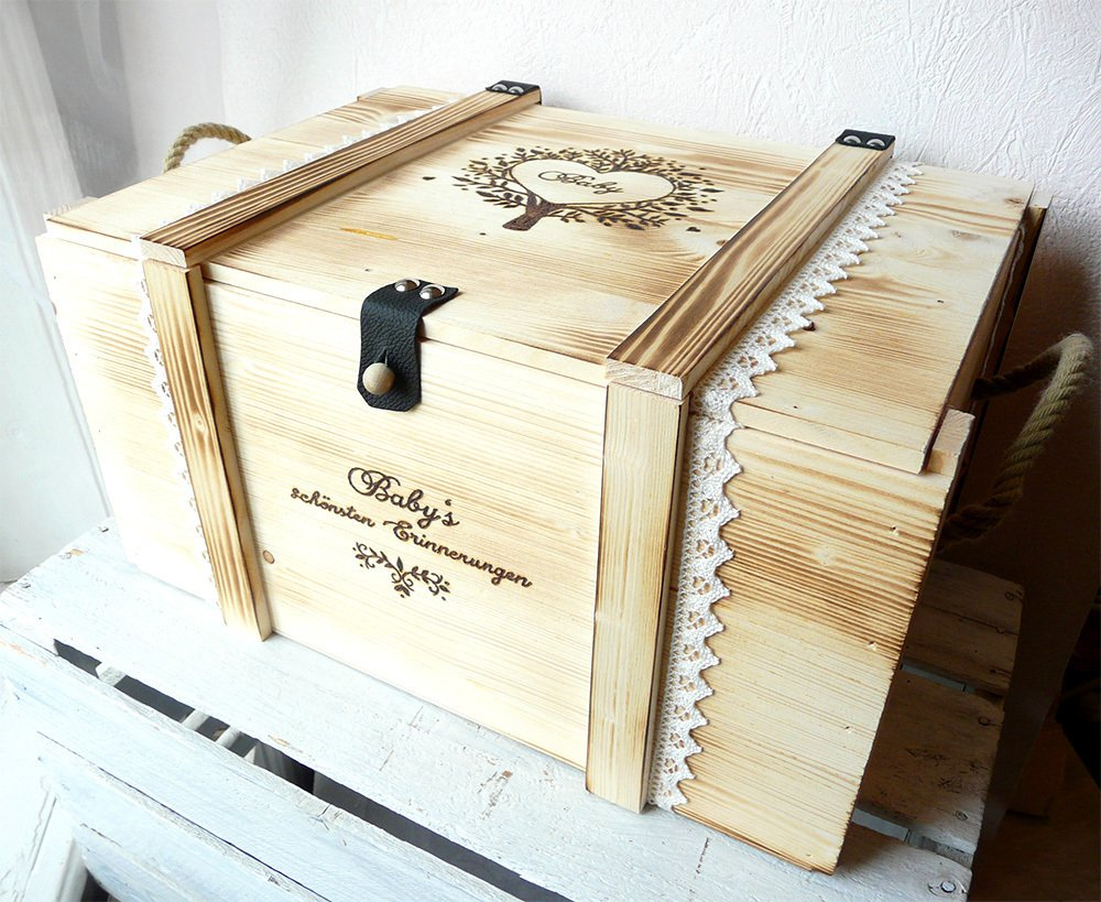 Erinnerungsbox Baby - Babygeschenk personalisiert - Erinnerungsbox mit Gravur - Geburtsgeschenk mit Namen - Holztruhe -
