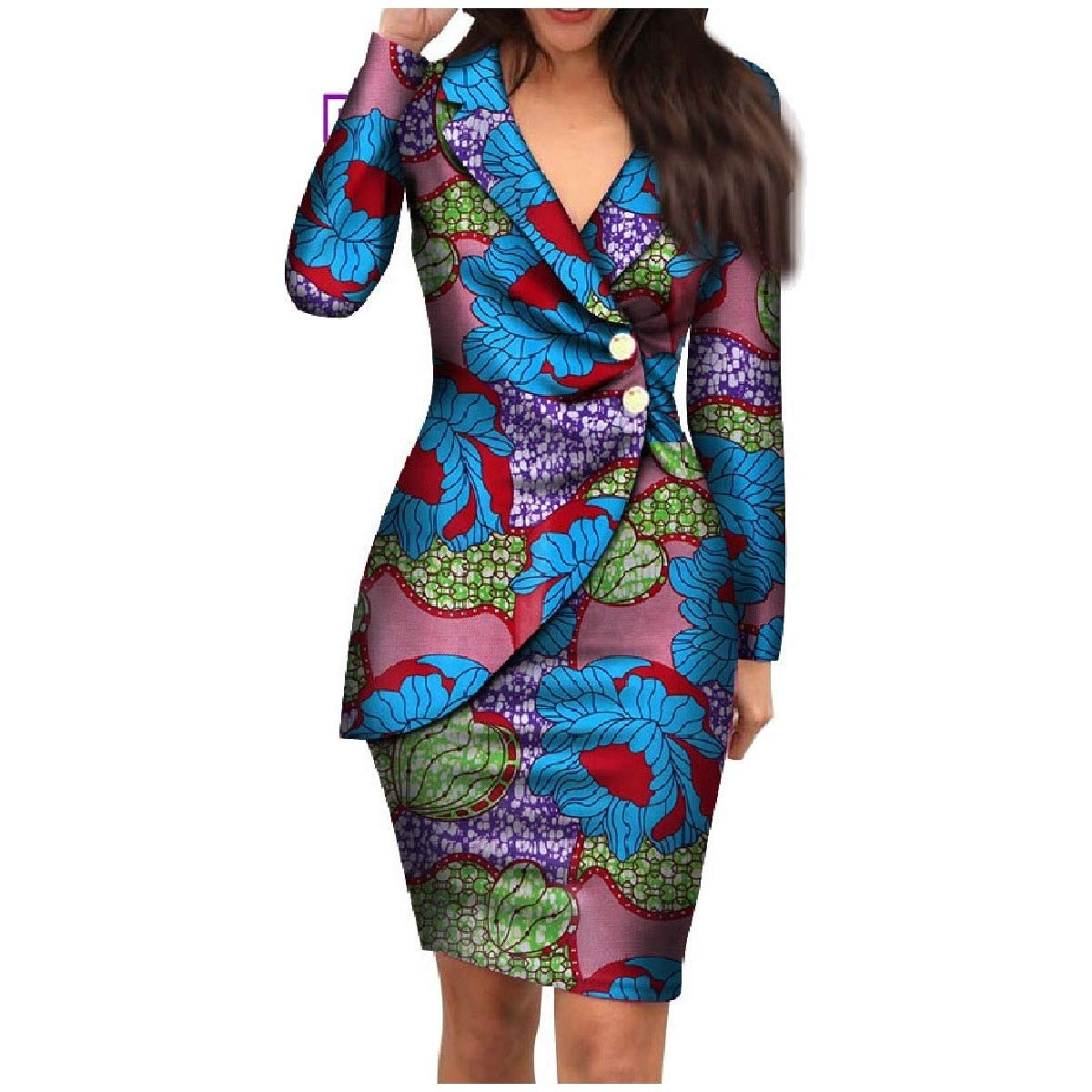 bluee Coolhere Women's African Style Dashiki PlusSize Basic Cotton Classy Dress