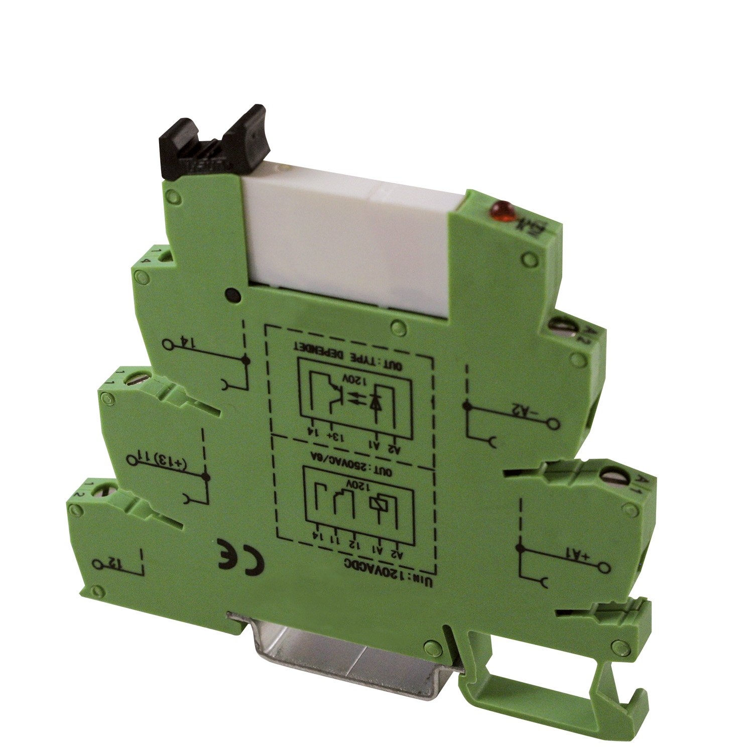 ASI ASI328040 ASIUDK-PLC-RI120Vac/dcE Pluggable SPDT Relay with Low Profile DIN Rail Mount Screw Clamp Terminal Base, 6 amp, 250 VAC, 120 VAC/DC Coil