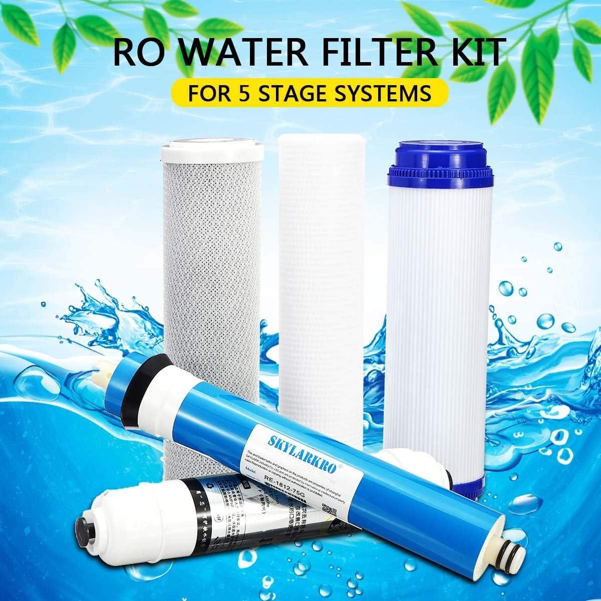 Z@SS Kit de Filtro de Agua de reemplazo de ósmosis inversa de 5 etapas con 75 GPD Membrana Cartucho de Filtro de ...
