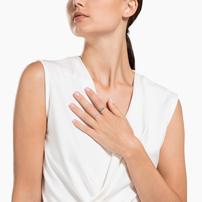 Bianco Placcatura Rodio Set Anelli Attract