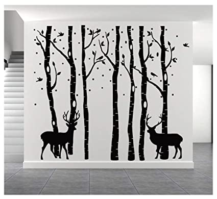 590474b3e528 7 Set of brichs Wall Stickers by BDECOLL,Christmas Wall Sticker, Deers Decal  Stickers,Vinyl Black Tree Mural Wall Sticker for Room Decorations: ...
