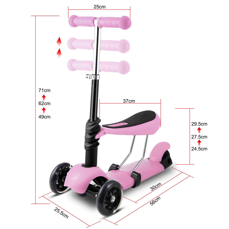 WeSkate 3-in-1// 5-in-1 Kleinkinder Kinder Roller Scooter 3 R/äder Mini Kinderscooter Kinderroller mit Abnehmbarem Sitz Maximales 50 kg Leuchtrollen und Verstellbare Lenker f/ür Jungen M/ädchen ab 2 Jahre
