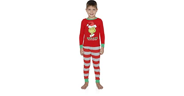 dd3f87ad8e2f Dr. Seuss The Grinch Behave for The Holidays 2 Piece Boys Cotton Pajama Set