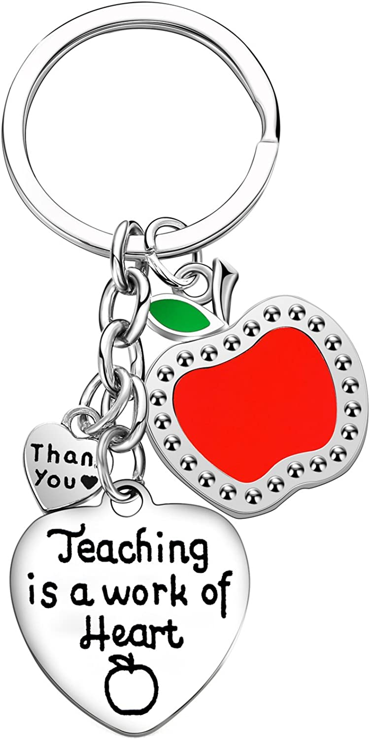 Teacher Appreciation Gifts Teaching Is A Work Of Heart Charms Keychain Back to School Gift For Teacher