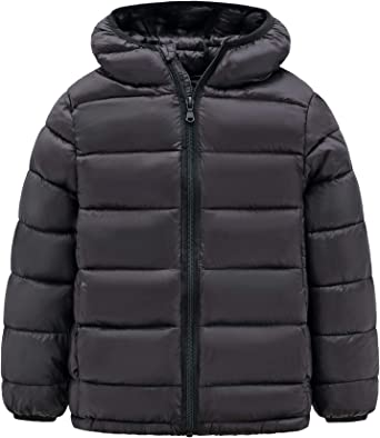 Cromoncent Boys and Girls Light Weight Winter Warm Hooded Puffer Down Coat Jacket