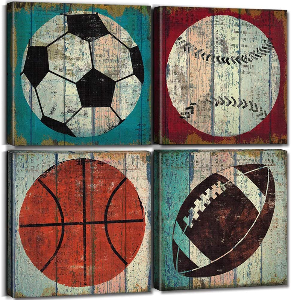 Sports Decor for Boys Room Sports Wall Art Decor Soccer Ball Basketball Home Decoration Canvas Print Football Tennis Ball Baseball Pictures Painting Modern Artwork Stretch Framed 12x12 Inch 4 Panels