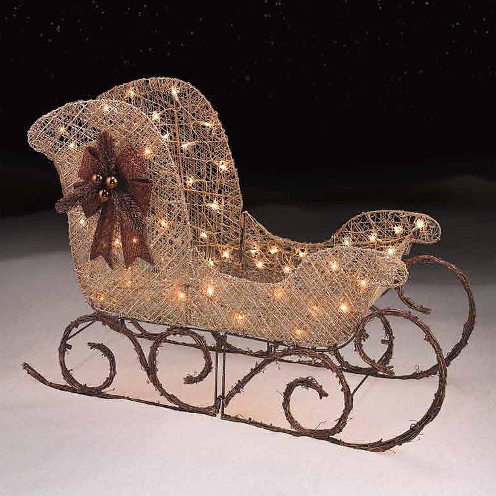 Amazon.com: Glittering 36 in. Light-Up Gold Sleigh Christmas Decor ...