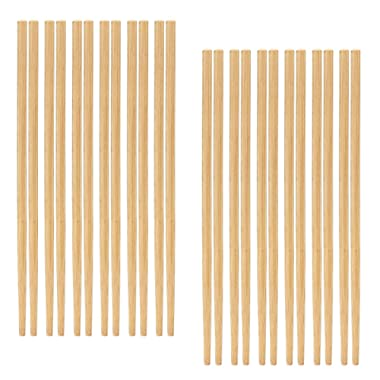 AusKit Chinese Natural Bamboo Chopsticks, 12 Pairs Reusable Chopsticks Set 8.8 Inches, Easy to Hold