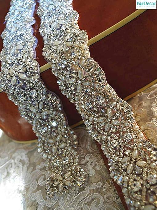 Iron On Rhinestone Chain Applique  Wedding Bridal Dress Embellishment Trim #1