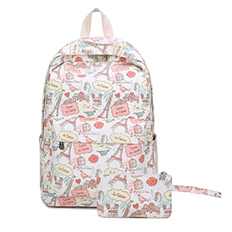 2065ddebb63d Amazon.com | Rhfemd 2pcs Cute Printed Canvas Backpack Schoolbag ...