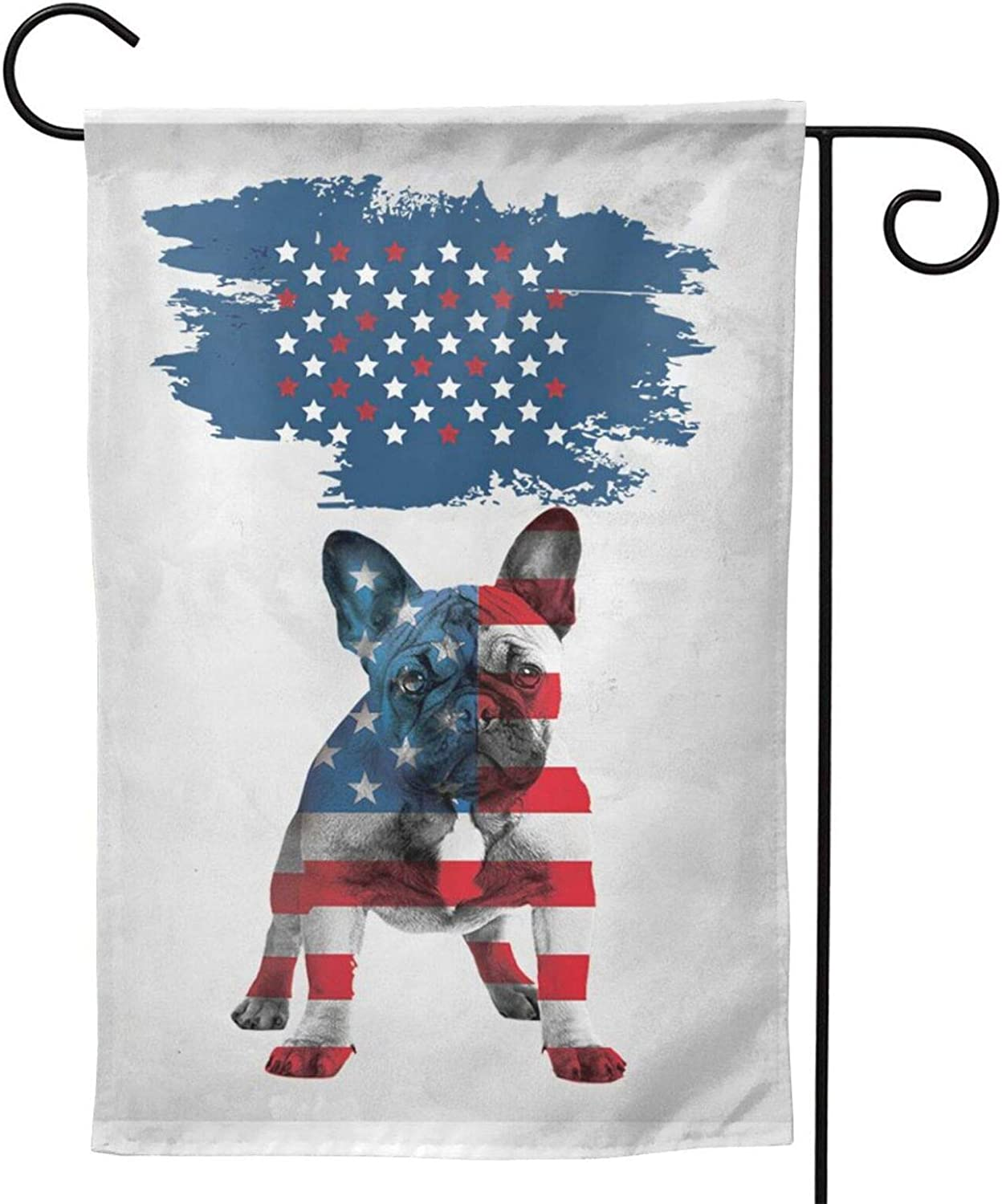 MINIOZE Styles Patriotic French Bulldog Cute USA Flag Party Themed Flag Welcome Outdoor Outside Decorations Ornament Picks Garden Yard Decor Double Sided 12.5X 18 Flag