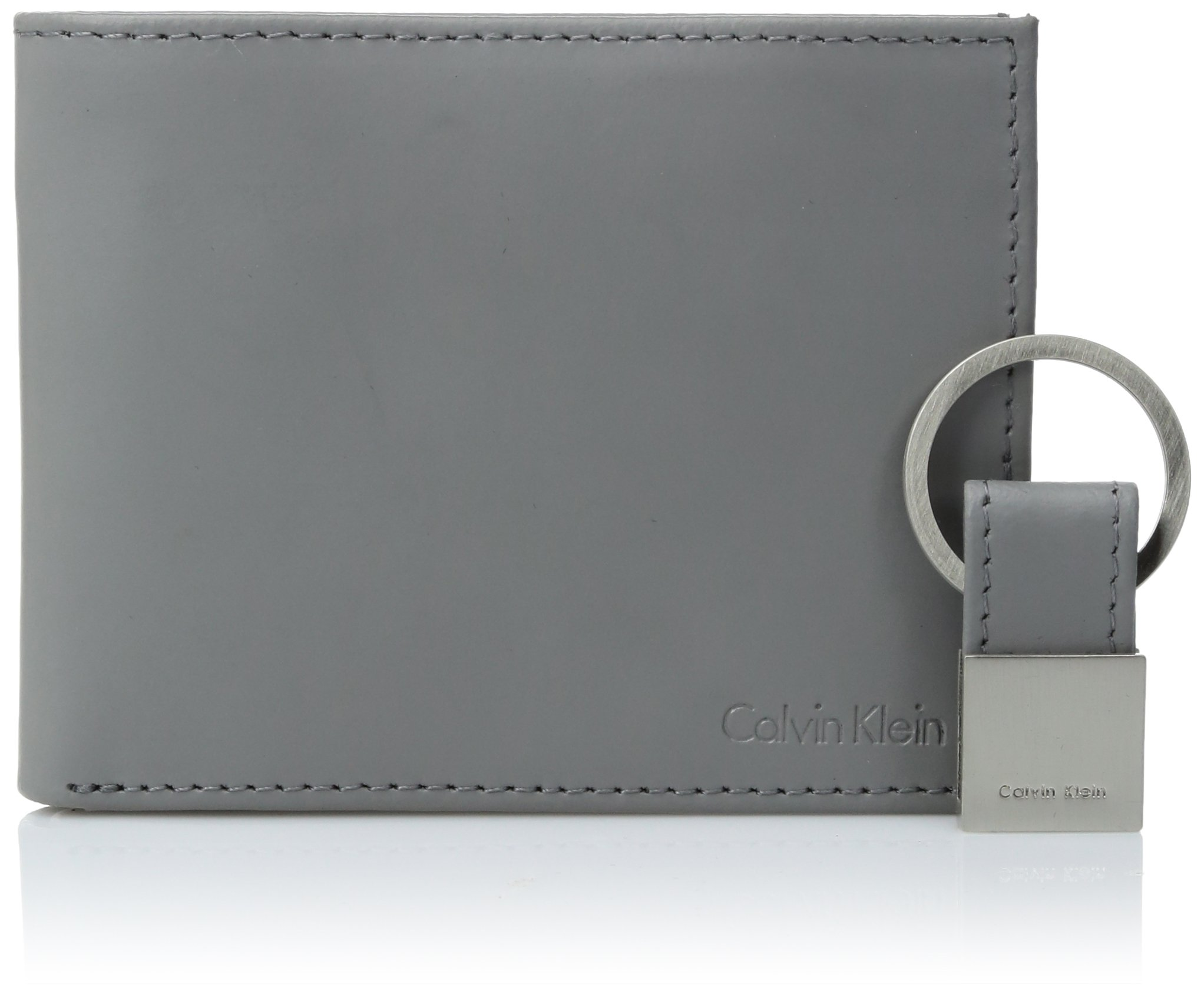 Calvin Klein Men's Calvin Klein Leather Bifold Wallet With Key Fob, Cool Gray, One Size