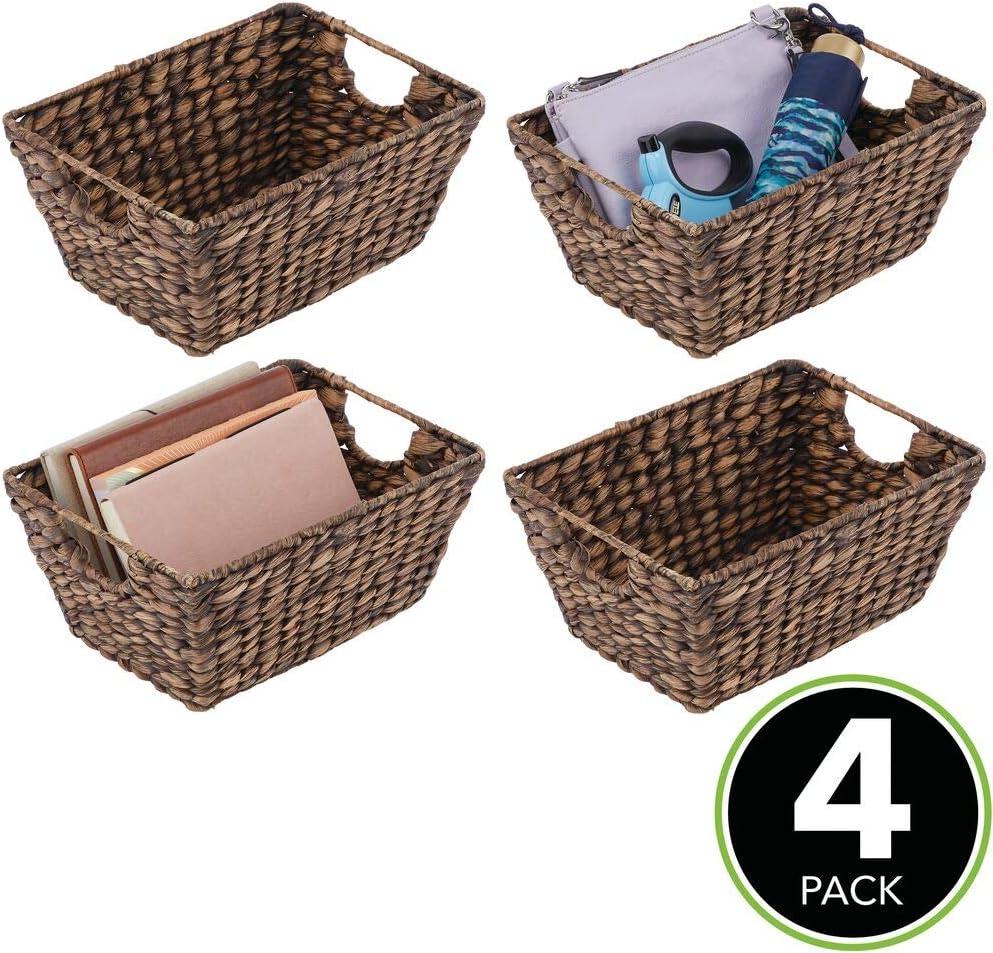 mDesign 12er-Set Korb geflochten – praktischer Flechtkorb mit Griffen für  Schlaf-, Wohn-, Badezimmer oder Flur – Aufbewahrungskorb für  Haushaltsartikel