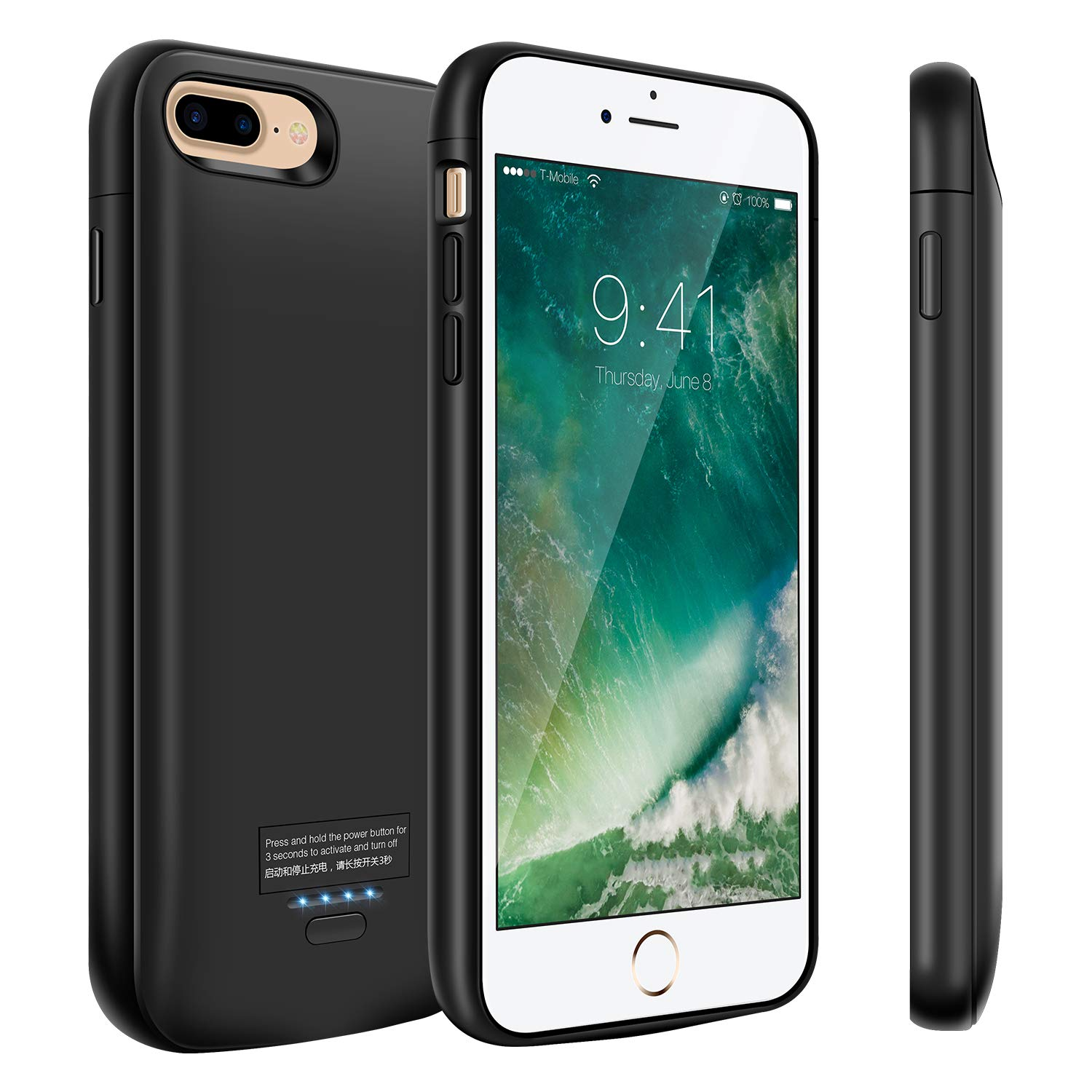 uk availability eab4f 98df1 Battery Case for iPhone 8 Plus/7 Plus, 5500mAh Portable Charger Case,  Rechargeable Extended Battery Charging Case for iPhone 8 Plus/7 Plus(5.5  inch), ...