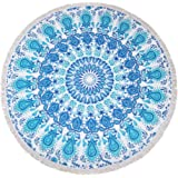 24 Styles Same Pattern Different Quality 2018 New Developed Material Thick Round Beach Towel Round Beach Blanket 100% Microfiber Terry Quality with Tassels 62 Inches Improved Blue Mandala Aztec