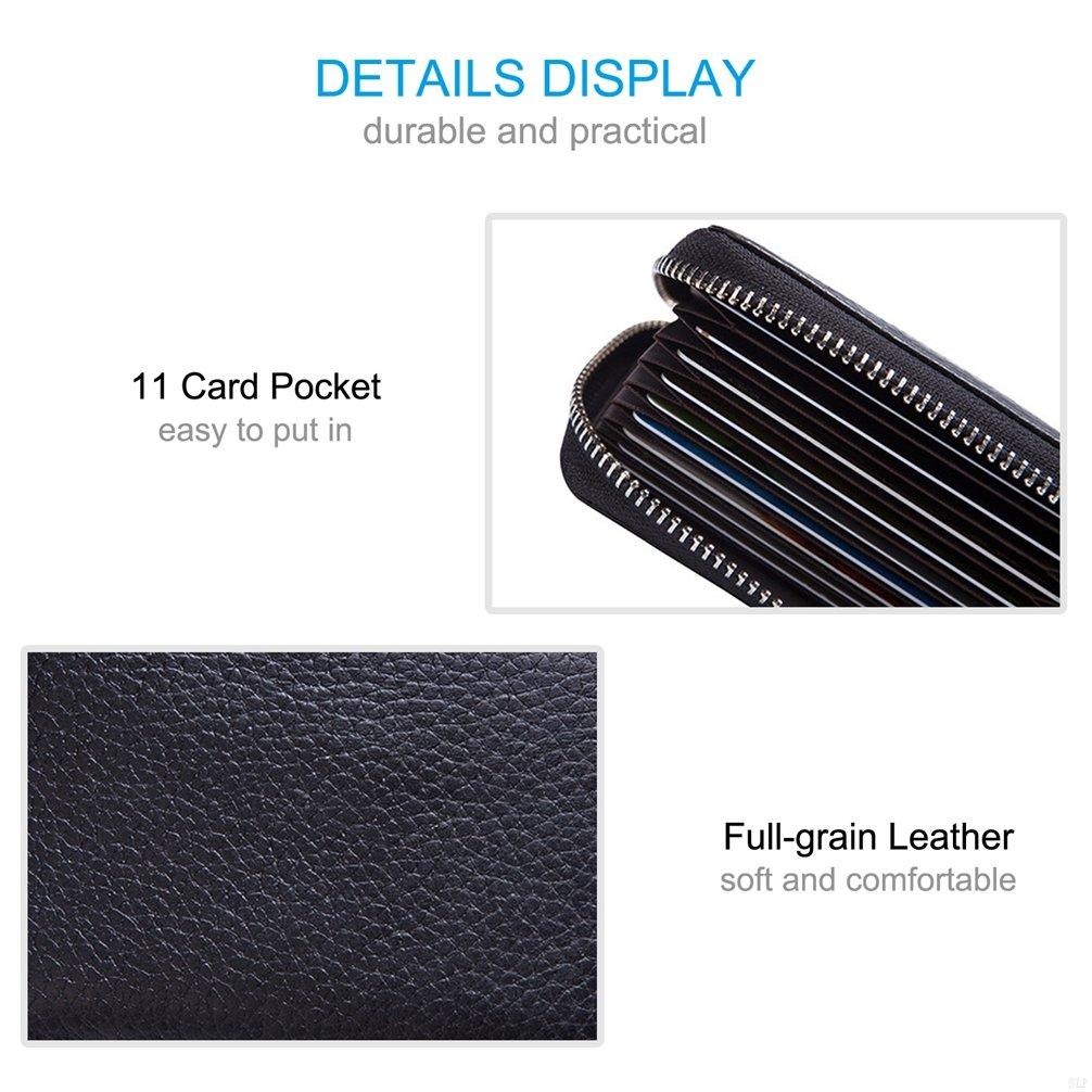 Leather Card Holder Wallet for Women Lightweight SLBGADIEME Zipper Wallet for Ladies