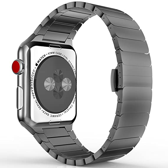 MoKo Band Compatible with Apple Watch 42mm 44mm Series 4/3/2/1, Stainless Steel Replacement Band Wrist Strap with Butterfly Buckle Clasp - Space Gray(Not Fit iWatch 38mm 40mm)