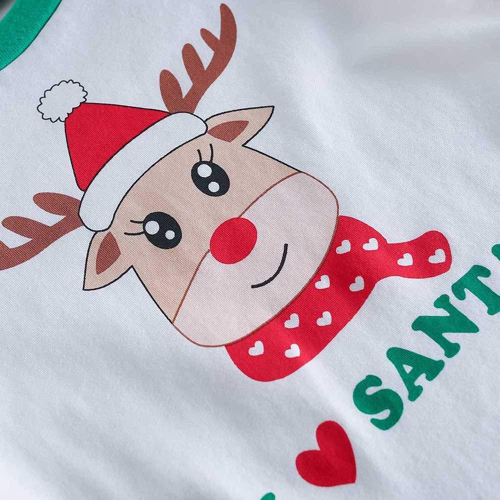 Baywell Christmas Family Pajamas Holiday Matching Santa Printed Stripe Sleepwear Clothes Sets Women Men