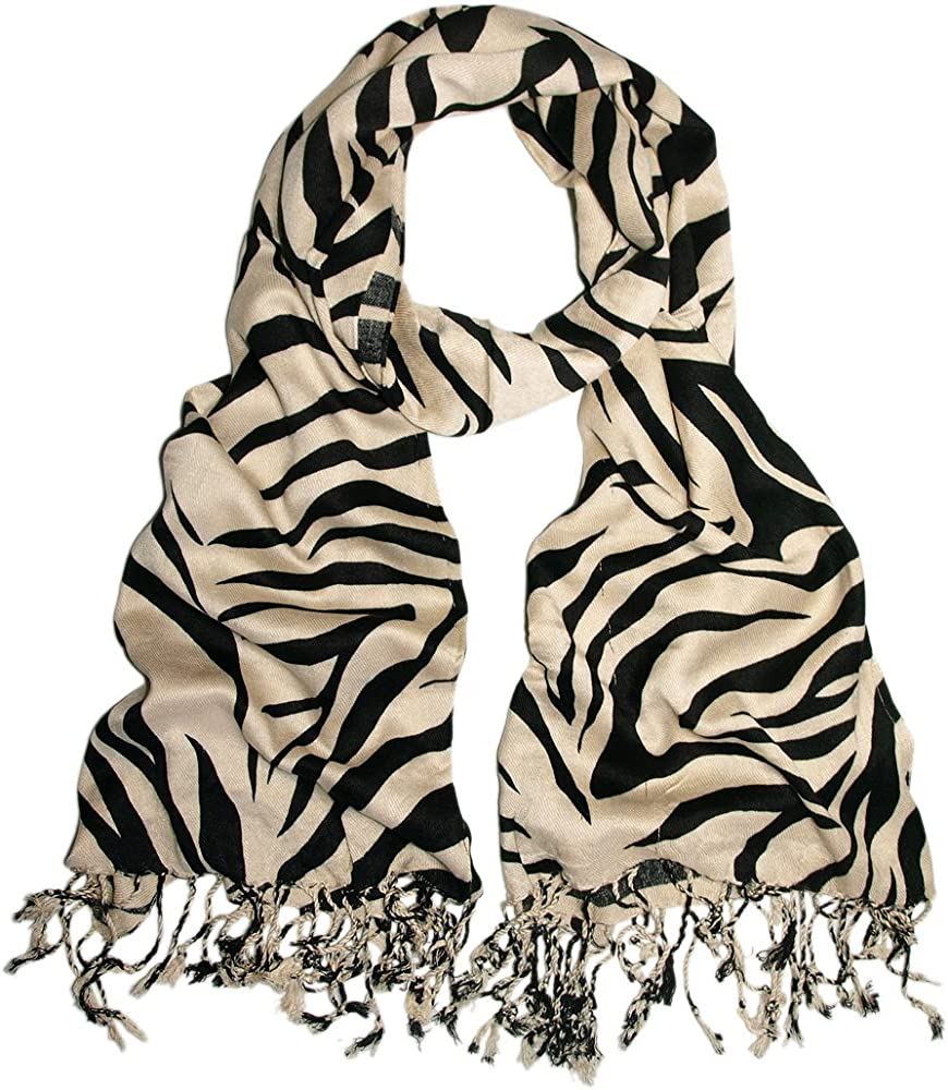 525b8413462 Elegant Zebra Animal Print Fringe Scarf - Diff Colors Avail