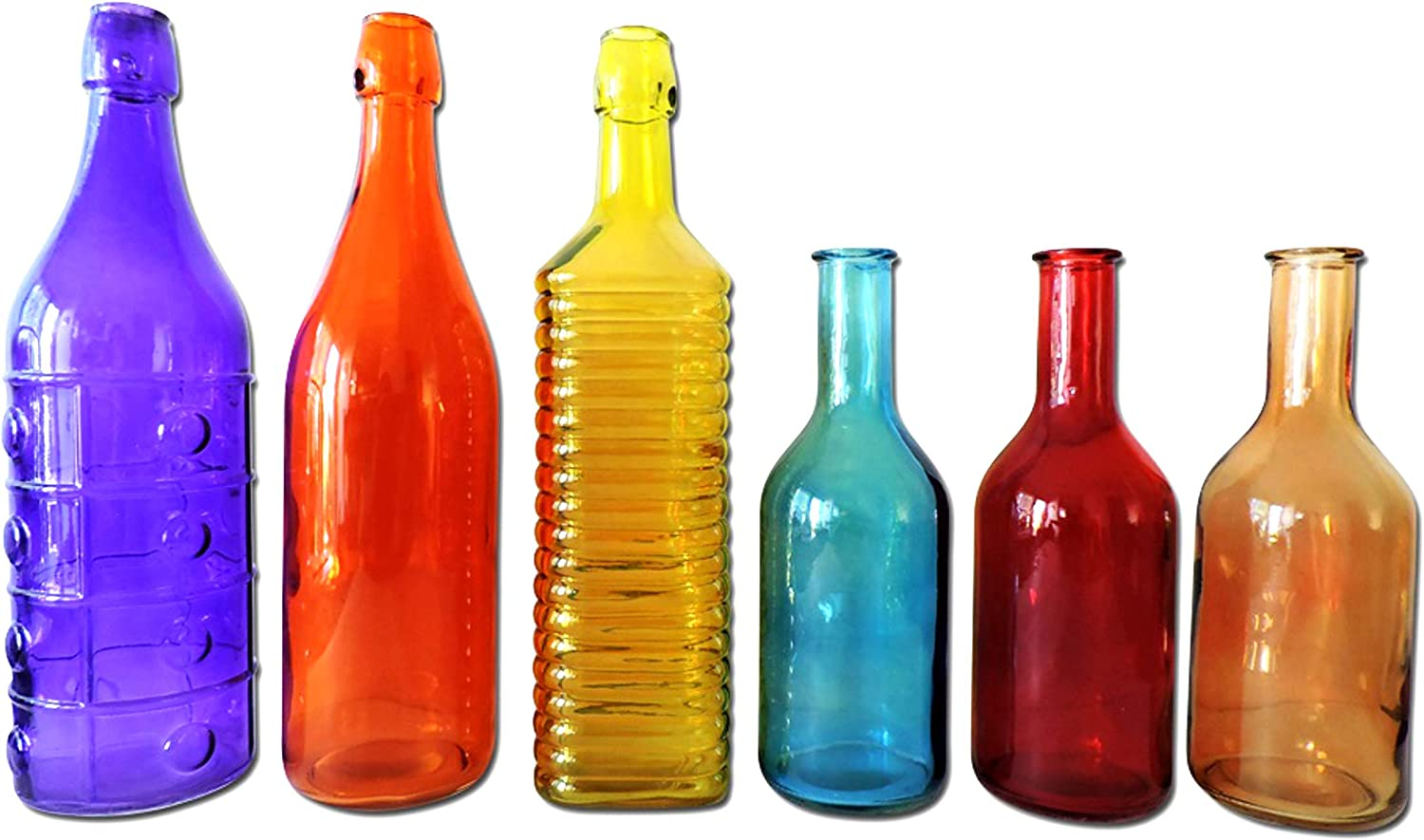Colored Glass Bottles 6 Pieces Colorful Decorative Vintage Bottle For Outdoor Garden Bottle Tree Or Indoor Home Decor Rainbow Color Set Home Kitchen