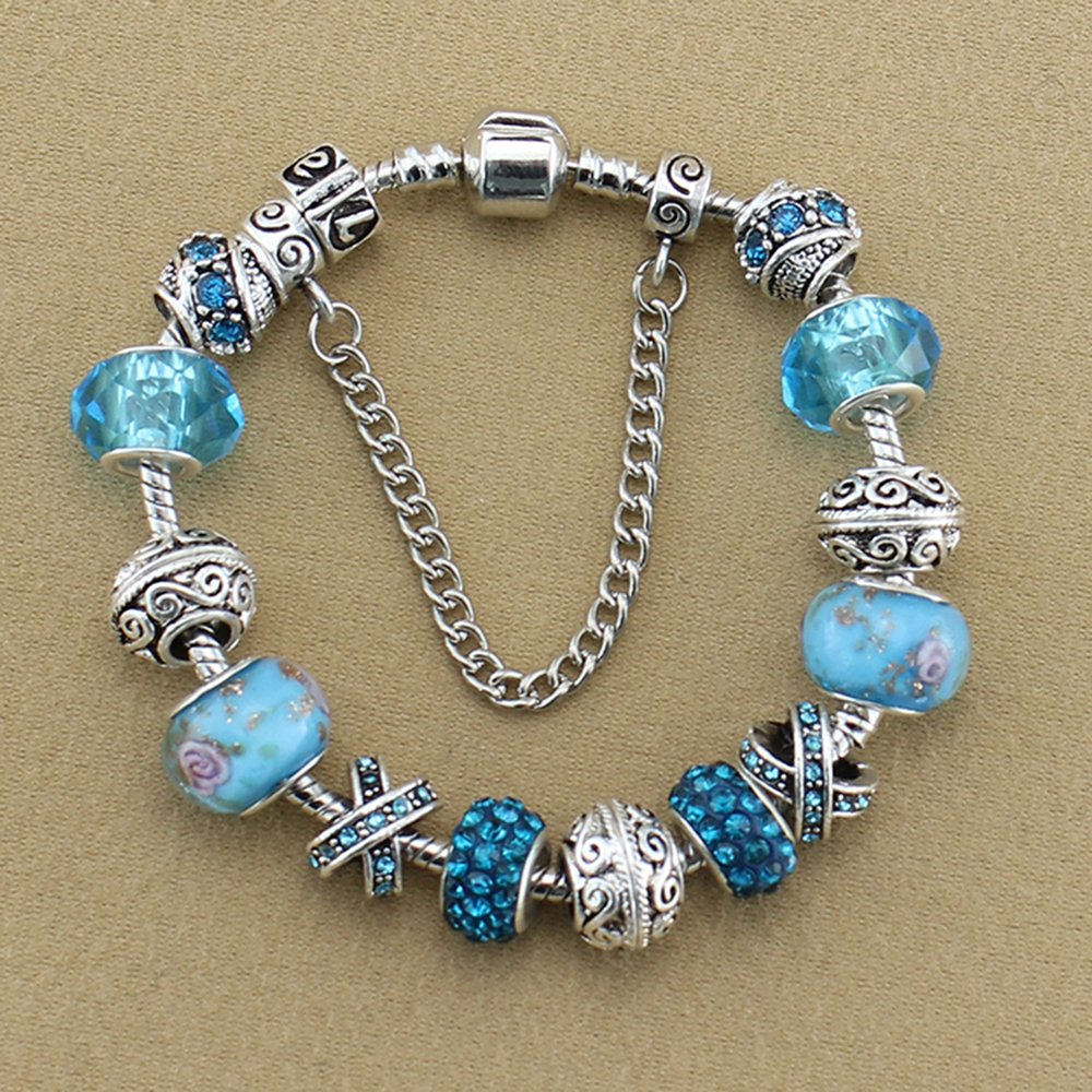YYcharm Crystal Beads Bangle Bracelet Silver Plated Charm Bracelets for Women Friendship Fashion Christmas Gifts