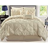 8 Piece Rochelle Pinched Pleat Ivory Comforter Set Queen