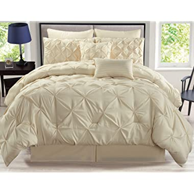 8 Piece Rochelle Pinched Pleat Ivory Comforter Set King