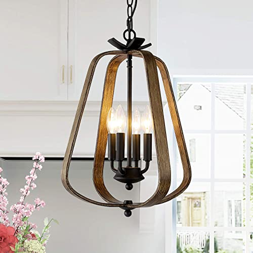 LNC A03412 Farmhouse Chandelier for Dinning Room, 4 Lights Rustic Faux-Wood Pendant Vintage Lantern Shaped, for Kitchen Island, Foyer, Hallway