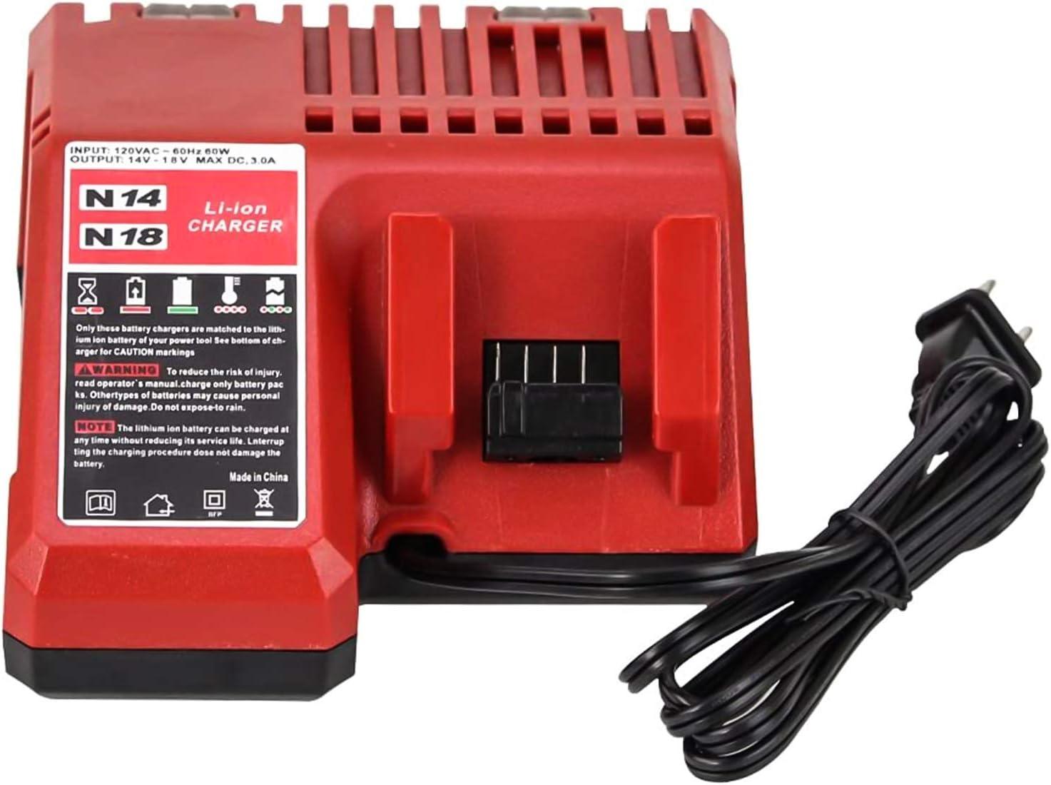 4-PORTS Milwaukee M18//M14 14V//18V Li-Ion Battery Replace Fast Charger-4 PORT*3Ah