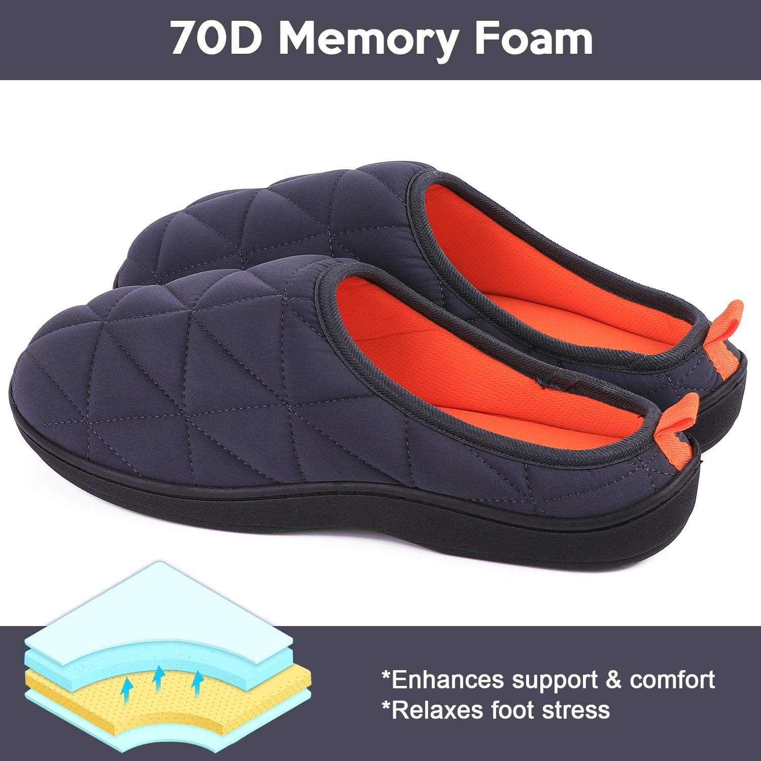 Mens Memory Foam House Slippers Warm Cozy Down Quilted Slide House Shoes Sport or Camping