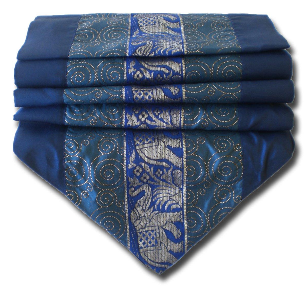 soljo - tablecloth tablerunner table runner linen Thai Silk Elegant precious Elephant 150/200/250 cm x 30 cm many colors (blue, 250 cm x 30 cm)
