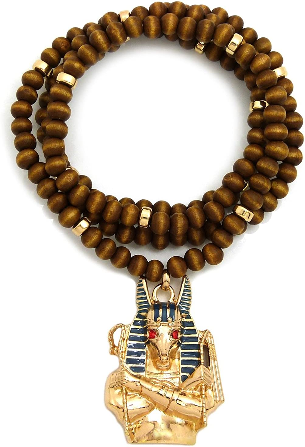 """NEW EGYPTIAN ANUBIS PENDANT /& 30/"""" WOODEN BEAD NECKLACE"""