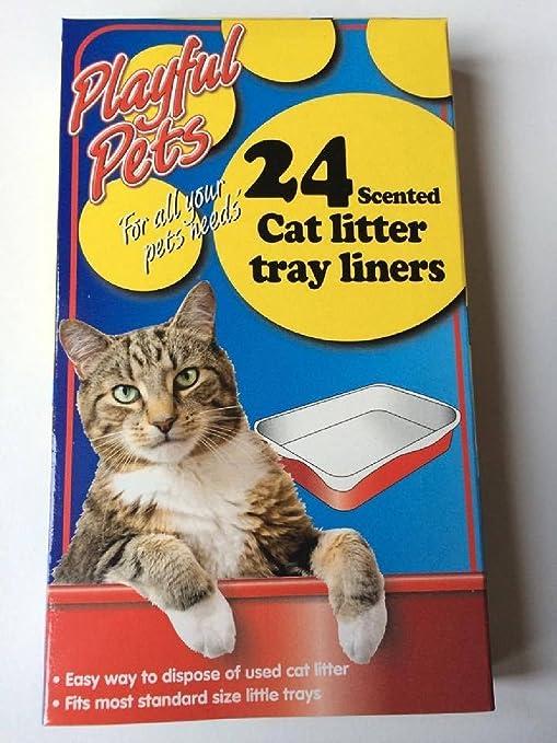 24 bolsas de gato basura bandeja perfumadas desechables blanco 66 cm x 30 cm