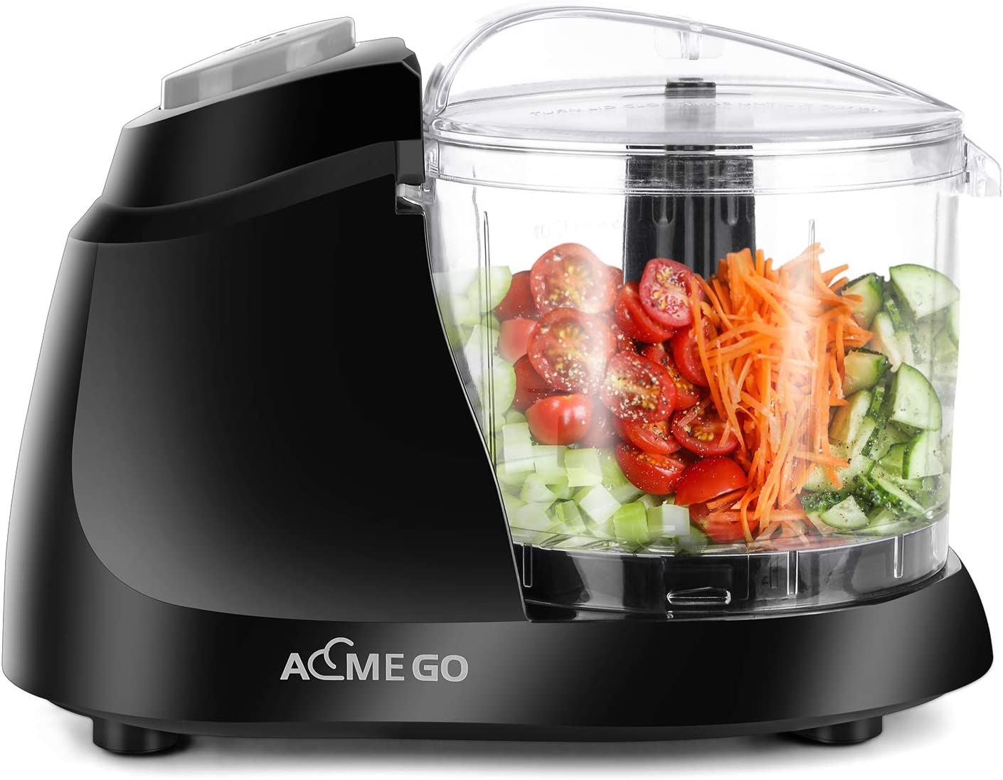 AEMEGO Mini Food Processor 1.5 Cup Meat &Vegetable Electric Food Chopper Detachable Small Food Grinder with Stainless Steel Blade for Dicing Mincing Blending Puree