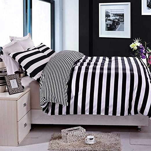 Amazon.com: NTBAY 3 Pieces Duvet Cover Set Black and White Stripe