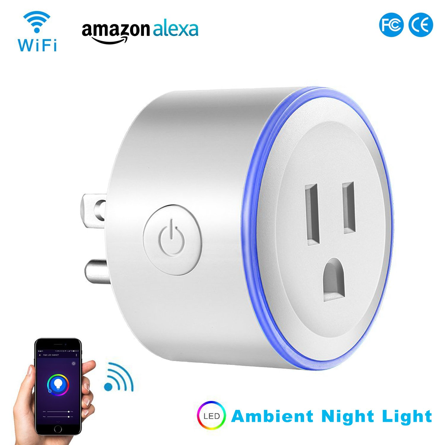 Alquar Wifi Smart Plug, Work With Alexa Google Home,with Ambient LED Night Light, Compatible With Voice Activated Devices Echo Dot Accessoires,Remote Mini Outlet Multi-function Socket Swtich