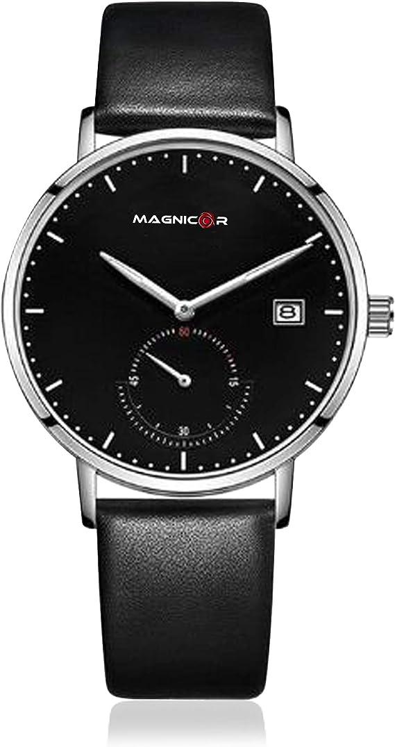 Magnicor Watch Company Movimiento de Cuarzo Caja de Acero Inoxidable ultradelgada Color Negro Dial de 40 mm Correa de Cuero Negro Genuino Estilo nórdico Reloj de Pulsera Hombres: Amazon.es: Relojes