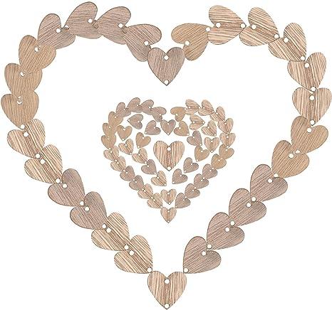 50pcs Wooden Blank HEART Shapes Embellishments DIY Crafts Scrapbook Wedding