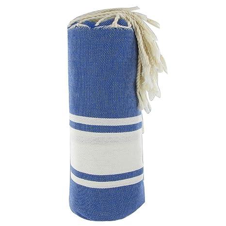 Toalla Algodón Futa Hammam o Playa Azul Color de Rayas Blancas