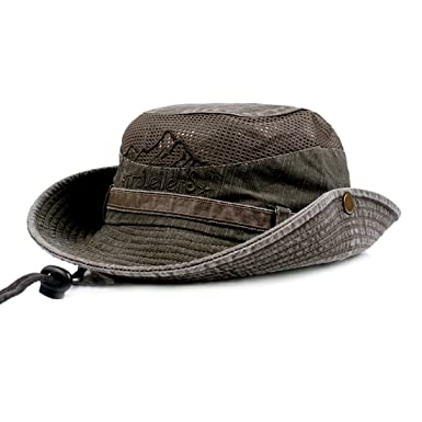 Mens Summer Cotton Embroidery Visor Bucket Hats Fisherman Hat Outdoor  Climbing Mesh Sunshade Cap 90950a667b3
