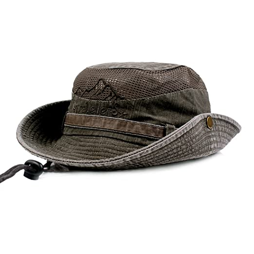 KeepSa Mens Summer Cotton Embroidery Visor Bucket Hats Fisherman Hat  Outdoor Climbing Mesh Sunshade Cap Army c6200a741465