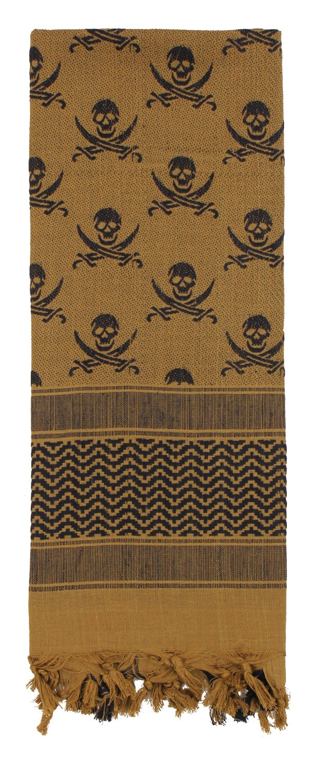 Rothco Skulls Shemagh Tactical Desert Scarf, Coyote Brown