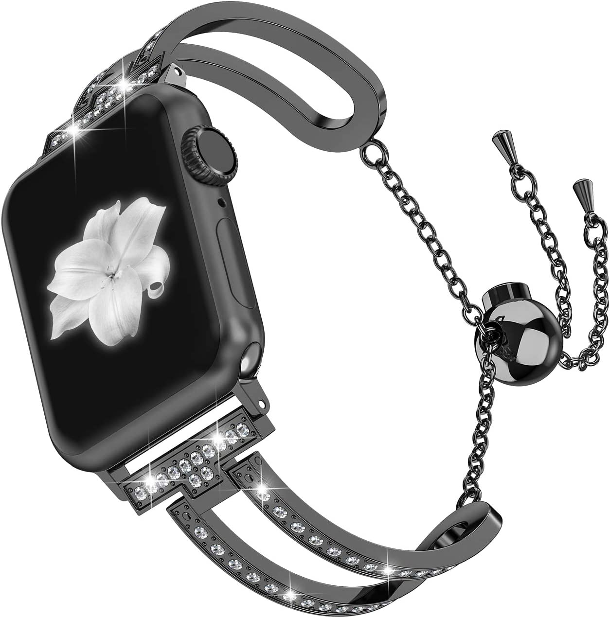 Wearlizer Black Compatible with Apple Watch Band 42mm 44mm for iWatch SE Womens Bling Jewelry U-Type Wristband Steel with Rhinestone Bangle Replacement Strap Metal Bracelet Chain Series 6 5 4 3 2 1