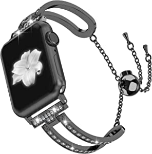 Wearlizer Black Womens Compatible with Apple Watch Band 38mm 40mm iWatch Bling Jewelry U-Type Dressy Wristband Steel with Rhinestone Bangle Replacement Strap Metal Bracelet Chain Series 5 4 3 2 1