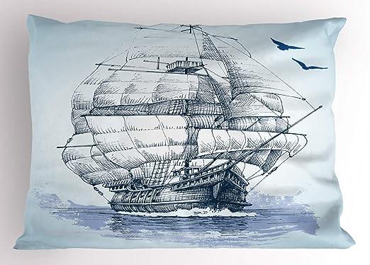 ABAKUHAUS Barco De La Vendimia Funda de Almohada, Nave Vieja En El ...